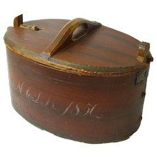 Painted Dated Norwegian Bent Wood Box, 1850, Latched Lid