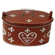 Painted Swedish Heart Svepask (Bent Wood Box) Dated 1913