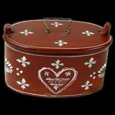 Painted Swedish Heart Svepask (Bent Wood Box) Dated 1913