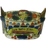 Painted Norwegian Tine Bentwood Box, Os Rosemaling, Dated 1887