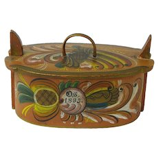Os Rosemaling Painted Norwegian Tine Bentwood Box, Dated 1895