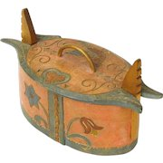 Carved and Paint Decorated Scandinavian Bentwood Box