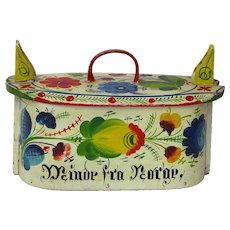 """Make an Offer! Os Style Rosemaling Decorated  Tine,  """"Minde fra Norge"""", Memories of Norway"""