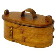 Make an Offer! Norwegian Tine, Bent Wood Box, with Twist Lid Lock, Ca. 1880