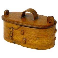Make an Offer! Norwegian Tine, Bent Wood Box, with Twist Lid Lock, Ca. 1880