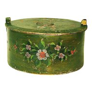 Large Paint Decorated Norwegian Bent Wood Box or Tina, Folk Art