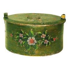 Large Paint Decorated Norwegian Bent Wood Box or Tina, Folk Art