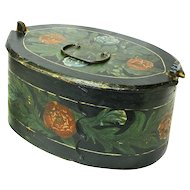 Flower Decorated Norwegian Tine, Bent Wood Box, Folk Art, Late 1800's