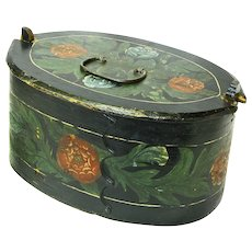 Flower Decorated Norwegian Tine, Bent Wood Box, Folk Art, Late 1800's
