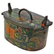 Early Rosemaling Decorated Norwegian Tine