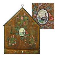 Folk Art Decorated Hanging Spool Holder, Late Victorian Era