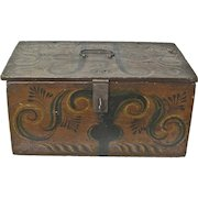 Large Museum Quality Viksdal Painted Document Box, Norwegian, Ca. 1860-1870