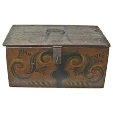 Large Viksdal Painted Norwegian Document Box