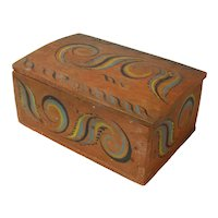 Viksdal Painted Norwegian Dome Top Document Box or Skrin, Late 1800's