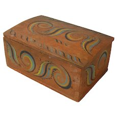 Viksdal Painted Norwegian Dome Top Document Box or Kiste, Signed, Late 1800's