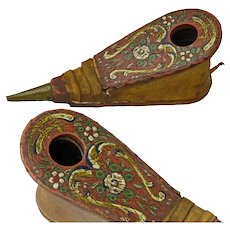 Folk Art Paint Decorated Wig Powder Bellows, Late 1700's-Early 1800's