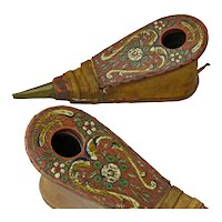 Wig Powder Bellows, Folk Art Paint Decorated, Late 1700's-Early 1800's
