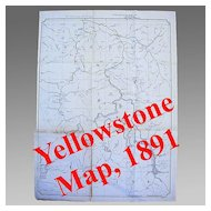 Large Yellowstone National Park Map, 1891
