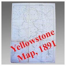 Large Yellowstone National Park Map, 1891