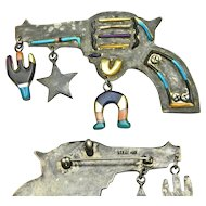Inlaid Silver Pistol Pendant/Pin, Zuni