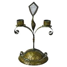Copper Arts and Crafts Candlestick with Trench Art
