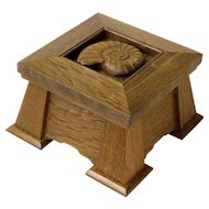 Mission Style Executive Keepsake Dresser Jewelry Box, Carved Ammonite Shell
