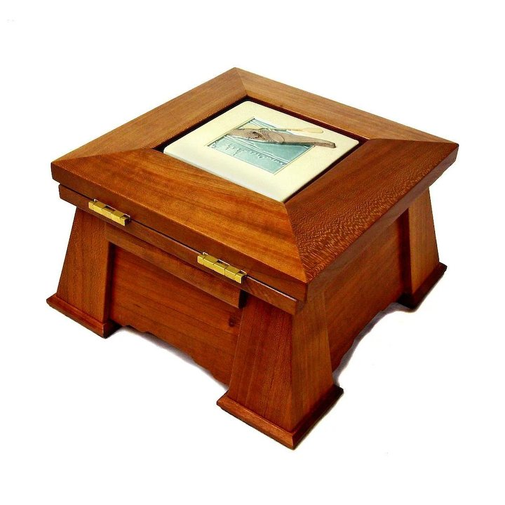 Mission Style Desk Or Jewelry Box W Ceramic Tile Insert Artisan