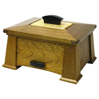 Quartersawn Fumed White Oak Mission Style Dresser Jewelry Box with Drawer