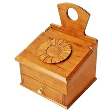 Curly Cherry Keepsake Salt Box with Drawer, Sweetpea Cottage Crafted