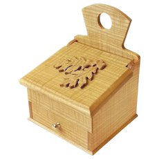 Curly Ash Keepsake Salt Box with Drawer, Sweetpea Cottage Crafted