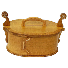 White Oak Norwegian Style Tine Bentwood Box, Bronze Accents, Crafted at Sweetpea Cottage