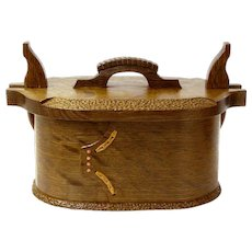 Norwegian Style Artisan Crafted White Oak Bent Wood Box, Tine, Norwegian Lunch Box