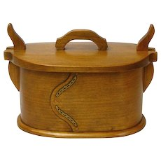 Quartersawn Black Cherry Norwegian Style Bentwood Box,  Artisan Crafted