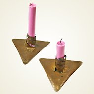 Pair of Hand Crafted Arts and Crafts Style Copper Candlesticks