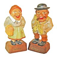Carved & Painted Salzburger Couple,  Anri Pieces