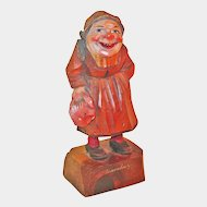 Peasant Luxembourg Woman Wearing Toque w/Bag,  Anri Painted Figure