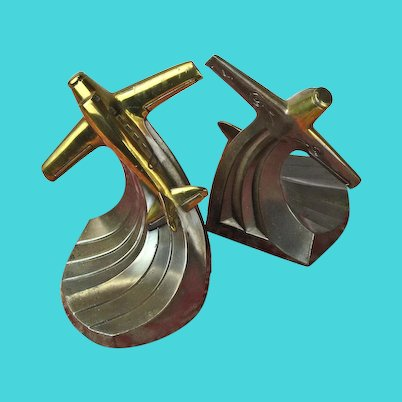 Art Deco Bronze Airplane Bookends