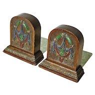 Carved Painted Art Nouveau Oak  Bookends
