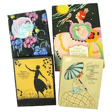 Four Boxes of Art Deco Bridge Score Pad Sets and Assorted Items, Ca. 1920's