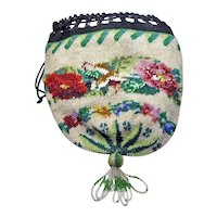 Vintage Beaded Evening Bag Purse with Draw String