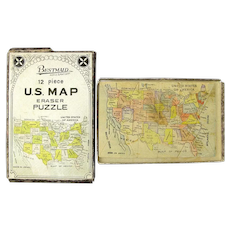 """BestMaid""  12 Piece U.S. Map Eraser Puzzle in Box"