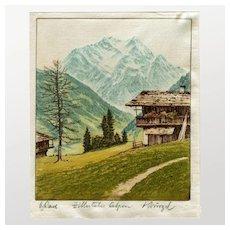 Zillertaler Alpen, Print on Fabric, Signed by Ludwig Burgel