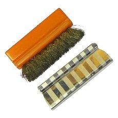 Small Brass Bristle Brush with Bakelite Handle