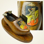 Carved Painted Coat of Arms Decorated Wooden Shoe, Ashtray, Match Holder