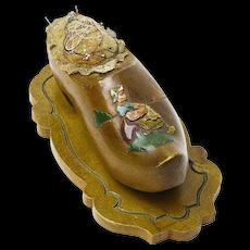 Decorated Wooden Shoe, Pin Cushion, Thimble Holder, Belgium, 1945