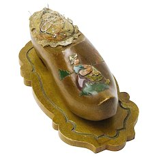 Decorated Wooden Shoe, Pin Cushion, Thimble Holder, Belgium, 1945