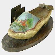 Paint Decorated Wooden Shoe, Ashtray, Cigarette Holder, Match Holder, 1945