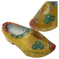 World War II G.I. Souvenir Painted Wooden Shoe, Belgium, 1945