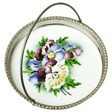 Ceramic Floral Decorated German Tray with Handle