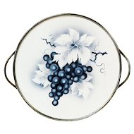 Ceramic Tile Footed Tray w/Grape Motif, Germany, Ca. 1920